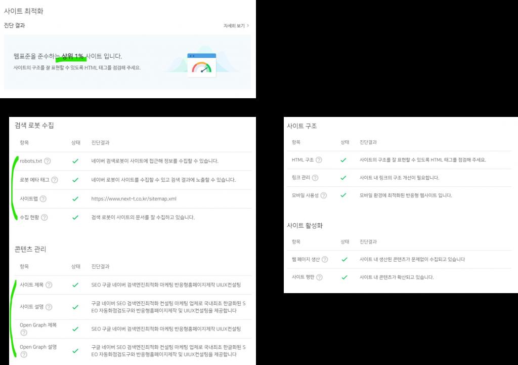 네이버-서치어드바이저-사이트진단결과